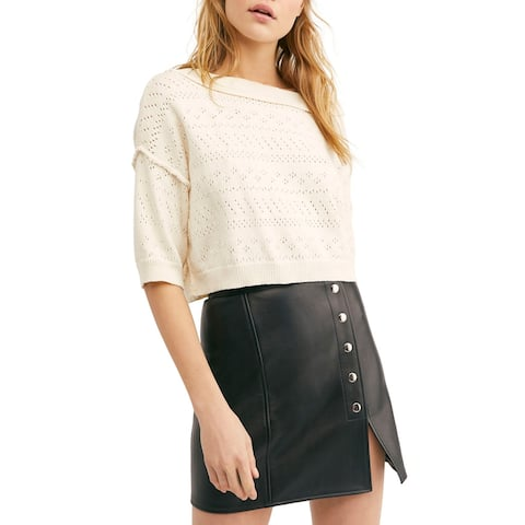 FREE PEOPLE Womens White 3/4 Sleeve Crop Top Sweater Size M