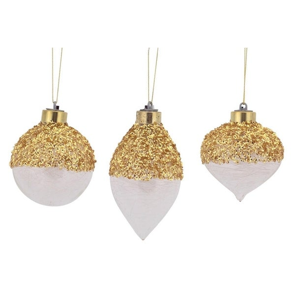 "Pack of 12 Battery Operated LED Gold Sequined Ball, Finial and Onion Christmas Ornaments 3""-5"""