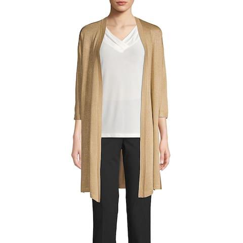 Anne Klein Womens Glittery Gold Open Cardigan Sweater Large