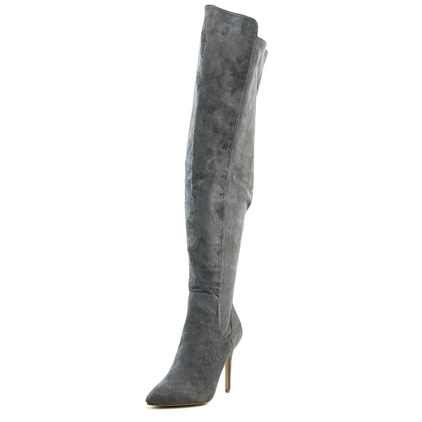 Charles By Charles David Perfect Women Pointed Toe Suede Gray Over the Knee Boot