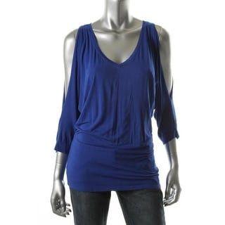 Michael Stars Womens Matte Jersey Cold Shoulder Pullover Top - o/s