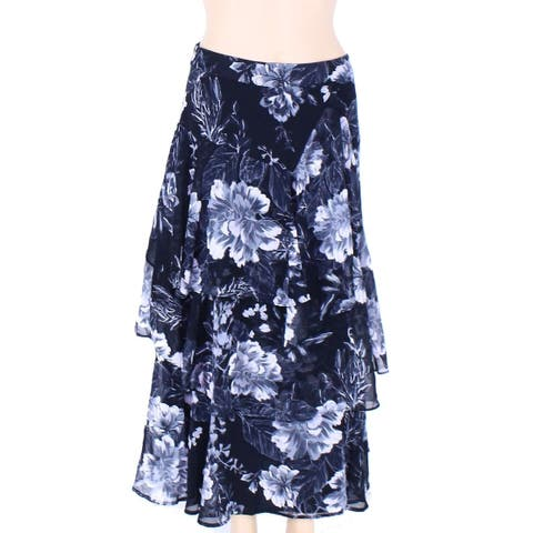 INC Womens Skirt Black Size 2P Petite Maxi Floral Print Tiered Ruffle