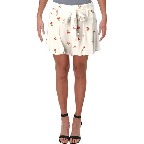 Aqua Womens Cherry Casual Shorts Printed Belted