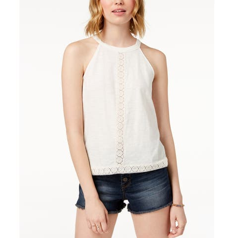 American Rag Juniors Lace Trimmed Sleeveless Top Egret Size Extra Large - White - X-Large