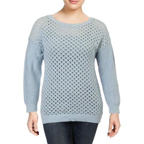 Jones New York Womens Sweater Pointelle Ribbed Trim