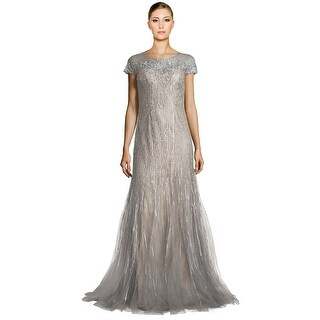 Rene Ruiz Embellished Tulle Illusion Godet Evening Gown Dress