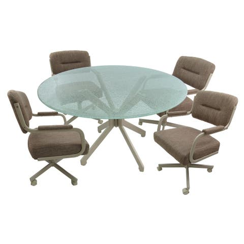 Glass Dinette Set with Wheels - Swivel Caster Chairs m110