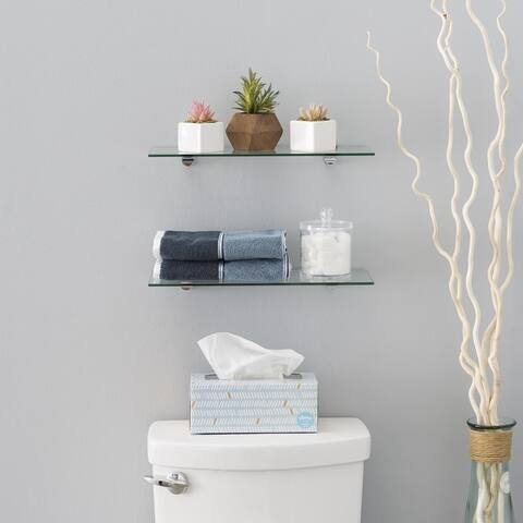 Clear Glass Floating Shelves with Chrome Brackets (Set of 2)