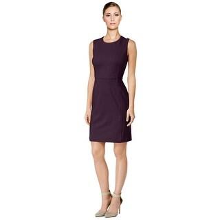 Calvin Klein Faux Suede Panel Ponte Sleeveless Sheath Dress - 6