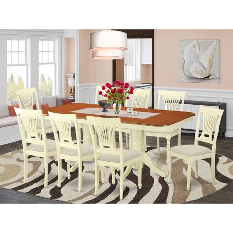 9-piece Kitchen Dinette Set Includes a Dining Table and 8 Chairs in Buttermilk and Cherry Finish