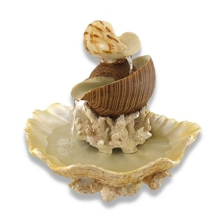 Sculpted Seashells and Coral Indoor Table Top Water Fountain - 13.5 X 14.5 X 12.75 inches