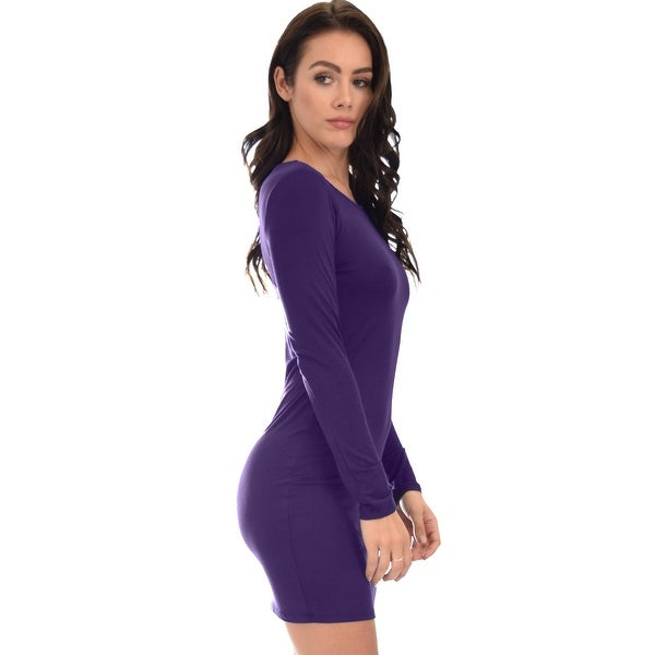 Shop Comeback Baby Long Sleeve Black Bodycon Dress Purple Small