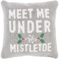 "18"" Ash Gray and Snow White ""MEET ME UNDER THE MISTLETOE"" Christmas Throw Pillow Cover - green"