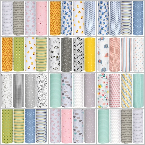 Cuddles & Cribs Cotton Flannel Receiving Blankets - 4 Pack - 30 by 30 inch
