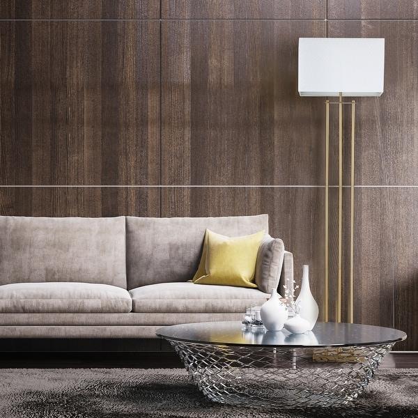"Novogratz x Globe SoHo 62"" Matte Brass Floor Lamp with White Linen Shade. Opens flyout."