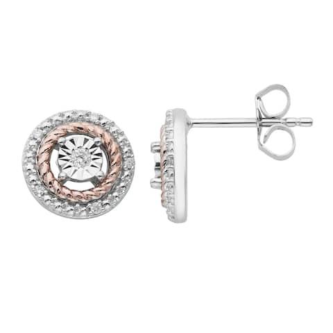White & Rose Sterling Silver 1/10cttw Diamond Earring, I3