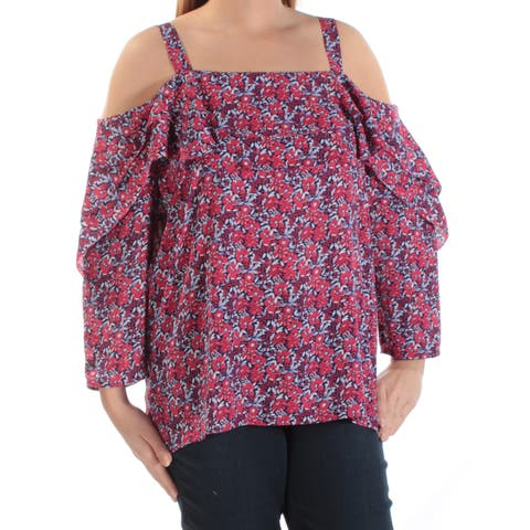 NYDJ Womens Navy Floral 3/4 Sleeve Square Neck Top Size: L