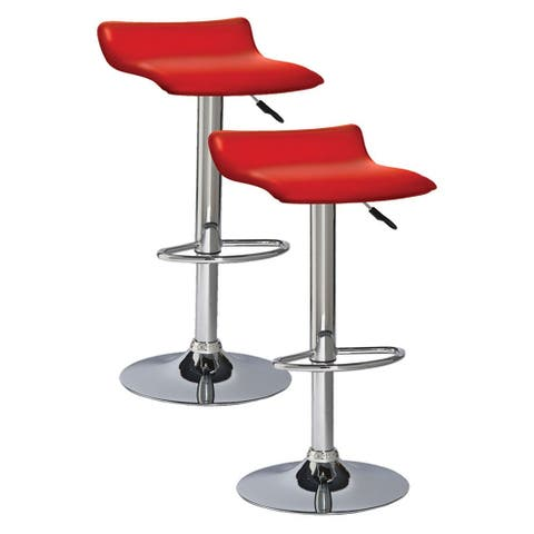 Adjustable Height Faux Leather Backless Modern Swivel Stool (Set of 2)