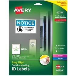 "5""X7.5"" 25/Pkg - Easy Align Self-Laminating Id Labels"