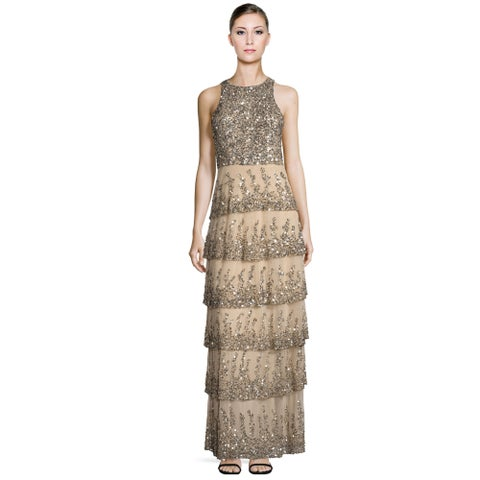 Parker Black Natalia Sequined Tiered Sleeveless Evening Gown Dress Nude