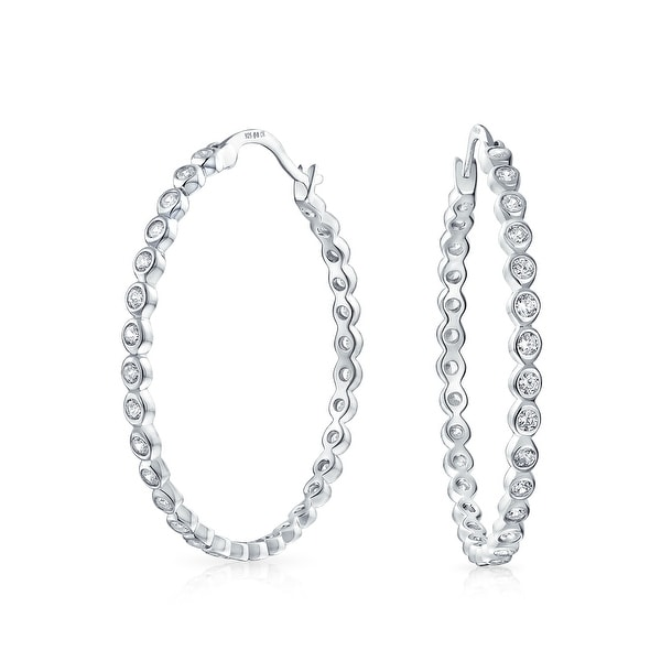 Shop Basic Round Solitaire Bezel Set CZ Large Hoop Earrings of Women Cubic  Zirconia 925 Sterling Silver 1.5 In Dia - On Sale - Free Shipping Today ... ff8f461559