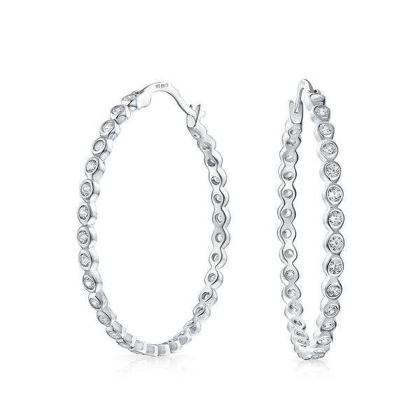 5e7fc8a24cfb9 Basic Round Solitaire Cubic Zirconia Bezel Set CZ Statement Large Hoop  Earrings of Women 925 Sterling Silver 1.5 In Dia
