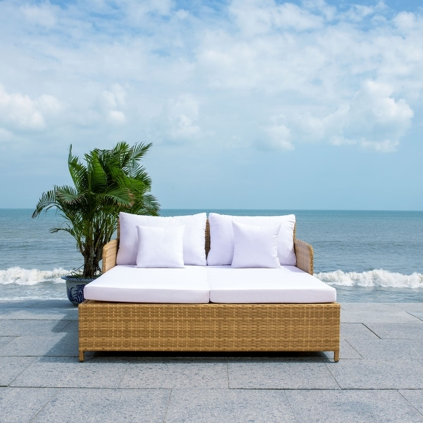 SAFAVIEH Outdoor Cadeo Daybed with Pillows and Cushions. Opens flyout.