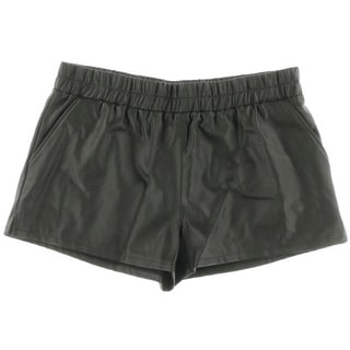 Rachel Rachel Roy Womens Faux Leather Ruched Casual Shorts