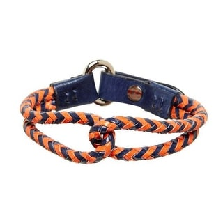 Tommy Bahama Mens Orange Navy Shore Leave Leather Bracelet