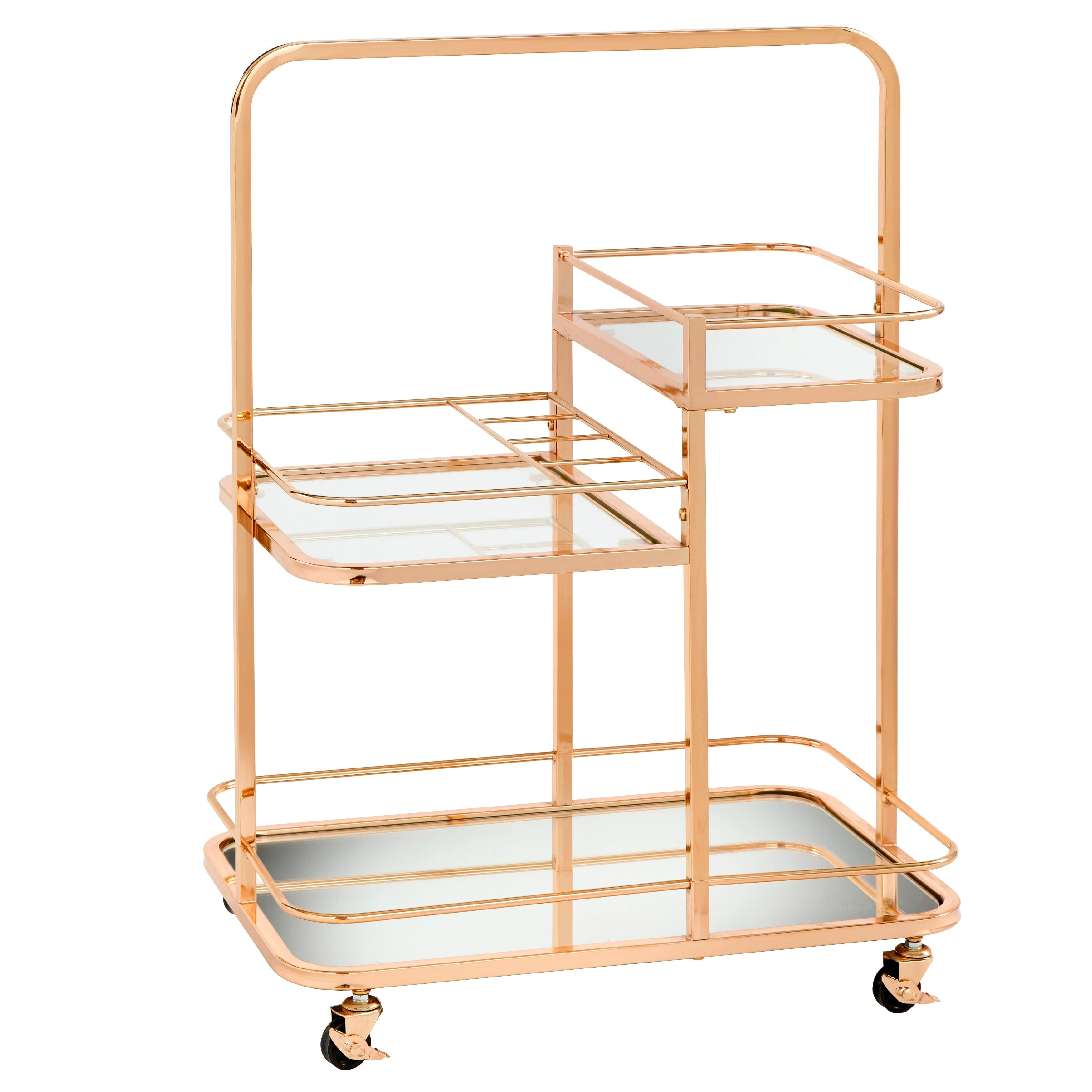 Angelo Home Alcott 3 Tier Gold Metal Bar Cart Overstock 28135201