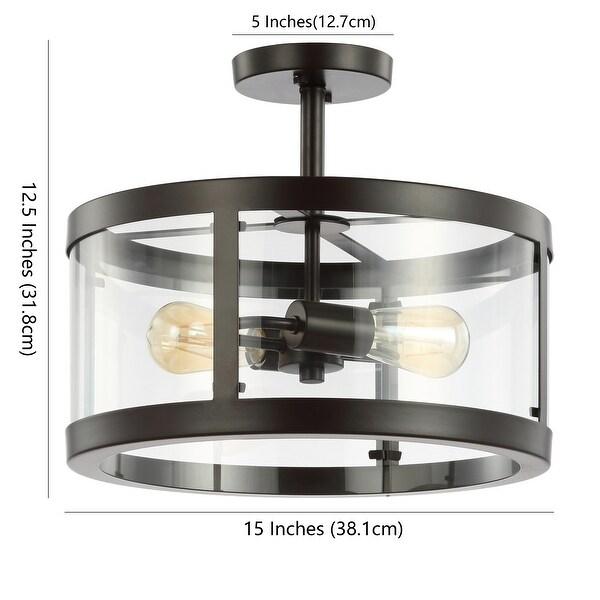 "JONATHAN Y Herndon 2-Light 15"" Iron/Glass Modern LED Flush Mount"