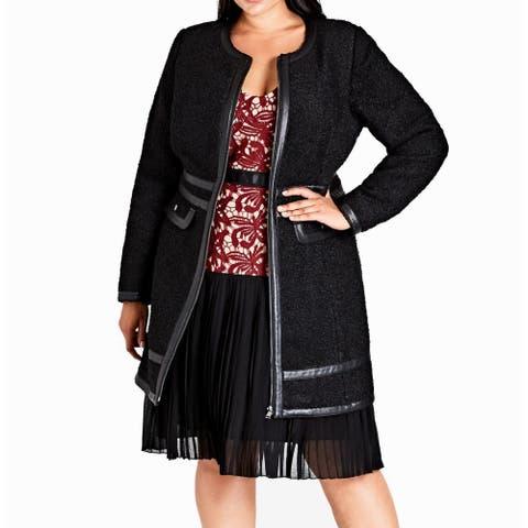 City Chic Women's Black Size 14W Plus Textured Pleather Trim Coat