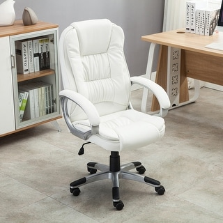 Belleze Ergonomic Office PU Leather Chair Executive Computer Hydraulic, White