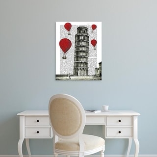 Easy Art Prints Fab Funky's 'Tower of Pisa and Red Hot Air Balloons' Premium Canvas Art