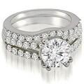 1.30 cttw. 14K White Gold Cathedral Split Shank Round Cut Diamond Bridal Set - Thumbnail 0