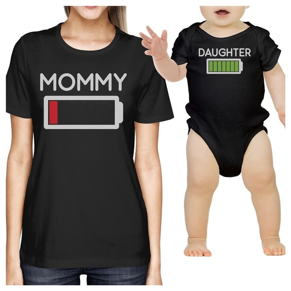 Mommy & Daughter Battery Black Mom and Baby Girl Matching T Shirt