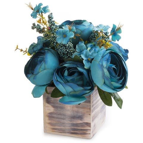Enova Home Mixed Peony Flower Arrangement in Natural Wood Planter For Home Decoration