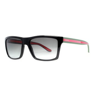 GUCCI Rectangular GG 1013/S Unisex 51N PT Black with Green/Red/Green Stripe Gray Gradient Sunglasses - 56mm-16mm-145mm