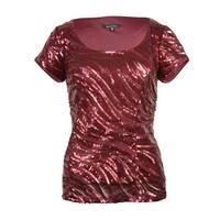 Marina Women's Sequin Waves Cap Sleeve Scoop Neck Blouse - Red
