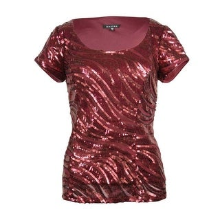 Marina Women's Sequin Waves Cap Sleeve Scoop Neck Blouse