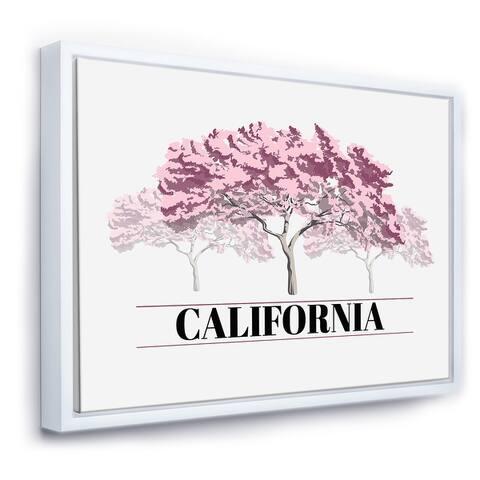 Designart 'Cherry Blossom Sakura Pink Tree Illustration' Farmhouse Framed Canvas Wall Art Print