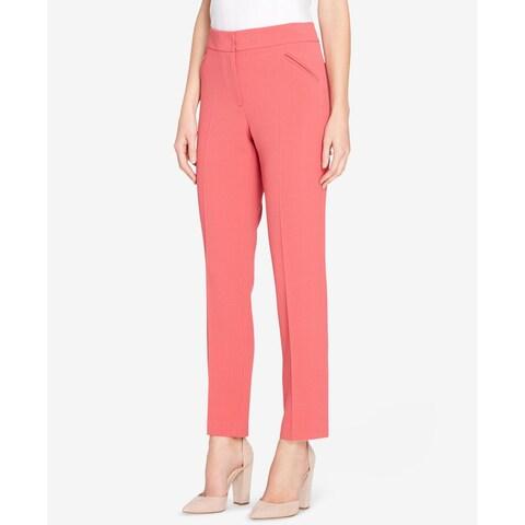 Tahari Pink Women's Size 14 Alyssa Pebble-Crepe Slim-Leg Pants