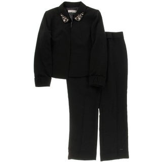 Tahari ASL Womens Petites Louisa Pant Suit Beaded Long Sleeves