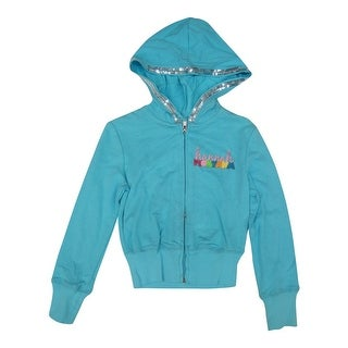 Disney Little Girls Blue Hannah Montana Sequined Glitter Hooded Top 5-6X