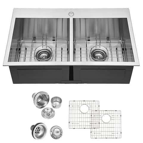"""Lordear 33 Inch Kitchen Sink Drop In Topmount Double Bowl 50/50 - 33""""x22""""x9"""""""