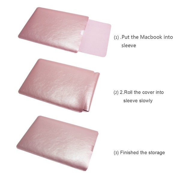 """Soft Sleeve Case Cover Bag Sleek Leather For MacBook Air /& Pro 13.3/"""" Rose Gold"""