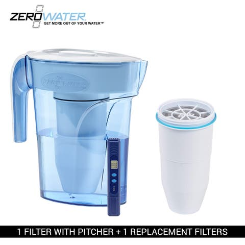Zero Water 6-Cup Ion Exchange Water Dispenser Pitcher & 1 Replacement Filter Combo