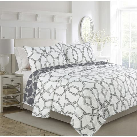 Milano Grey Trellis 3-piece Quilt Set