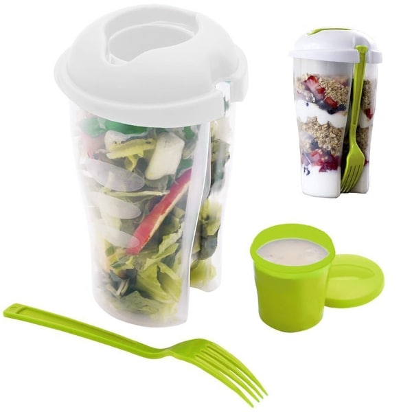 Home Basics Salad-To-Go Container Set, 2-Pack - Green