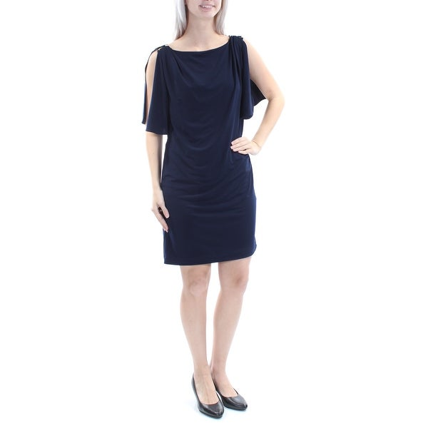JESSICA SIMPSON Womens Navy Slitted Short Sleeve Boat Neck Above The Knee Sheath Dress Size: 6